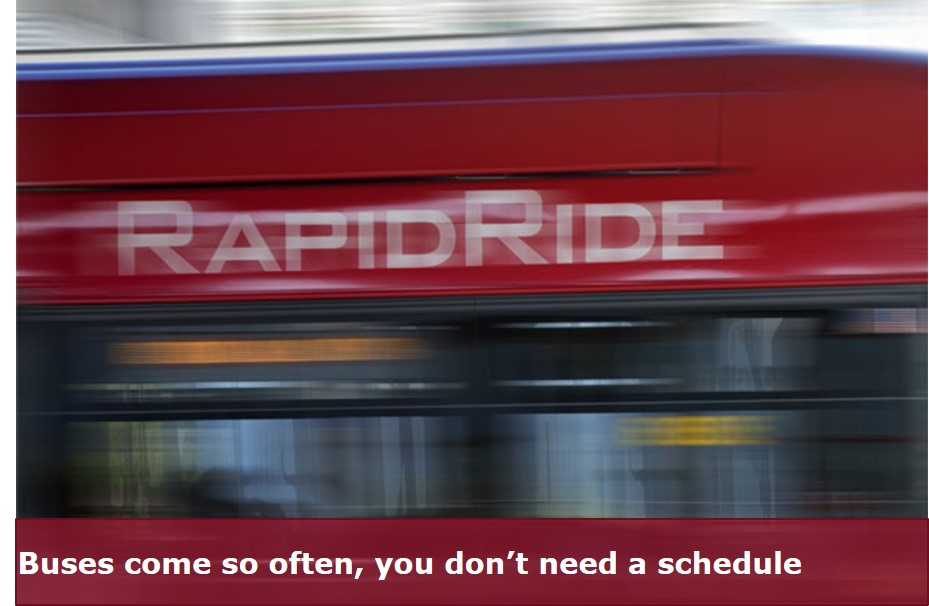 blurry RapidRide bus zipping by.