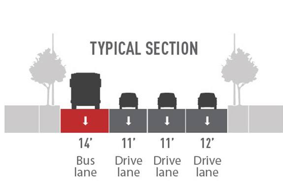 Proposed street layout with images of a gray sidewalk with trees, a blue 14' bus lane with a gray bus, a gray 11' drive lane and car, 11' gray drive lane and car, 12' gray drive lane and car, and gray sidewalk with trees.