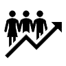 Icon with upward arrow below three people to show population growth