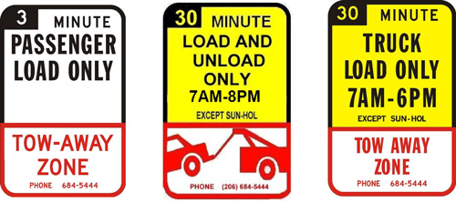 Photo of a white 3 minute passenger load zone, tow away zone sign. A yellow 30 minute load and unload only from 7am-8pm zone with an image of a red car getting towed beneath. A yellow 30 minute truck load only 7am-6pm and a tow away zone beneath.