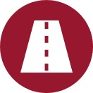 Icon of a red circle with a white paved road inside